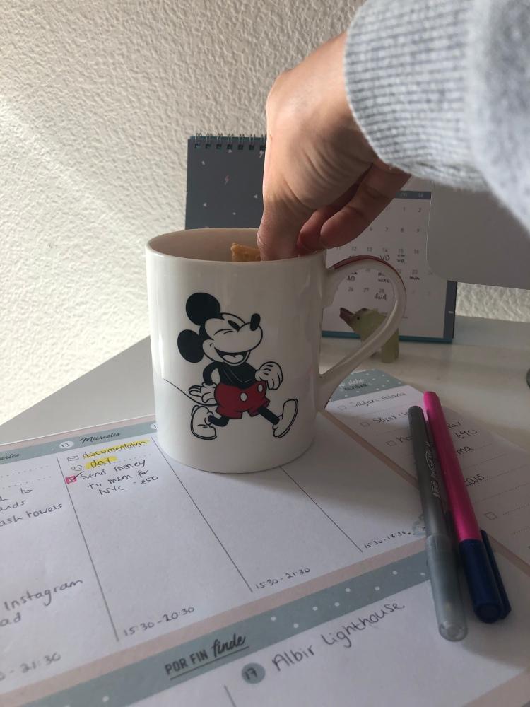 Cup of morning tea disney mug and mr wonderful planner