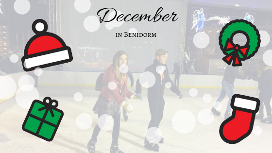 couple ice skating at benidorm christmas square