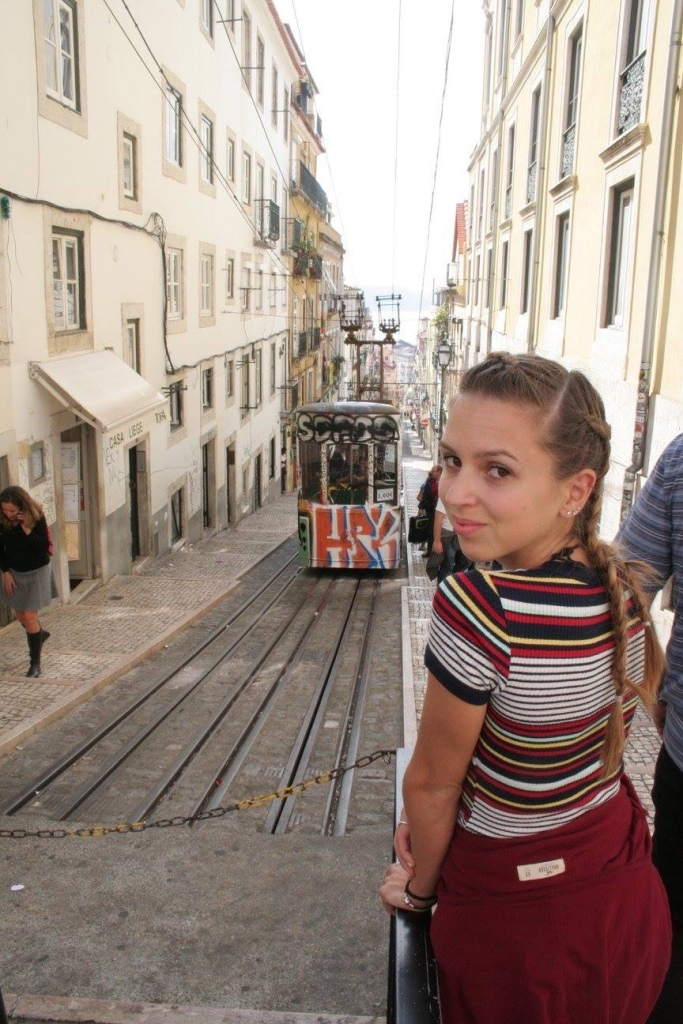 Tram behind me in Lisbon