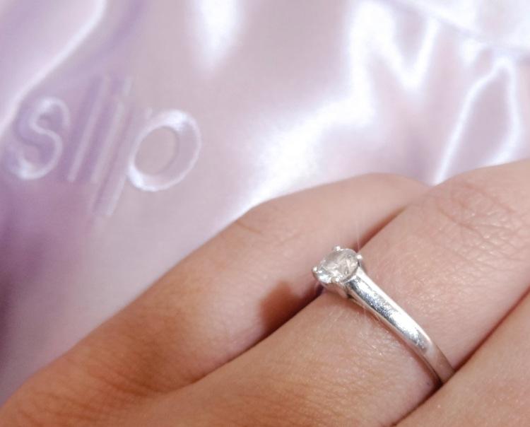 engagement ring and slip silk pillowcase