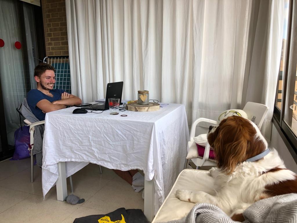 Alex enjoying his online classes in lockdown