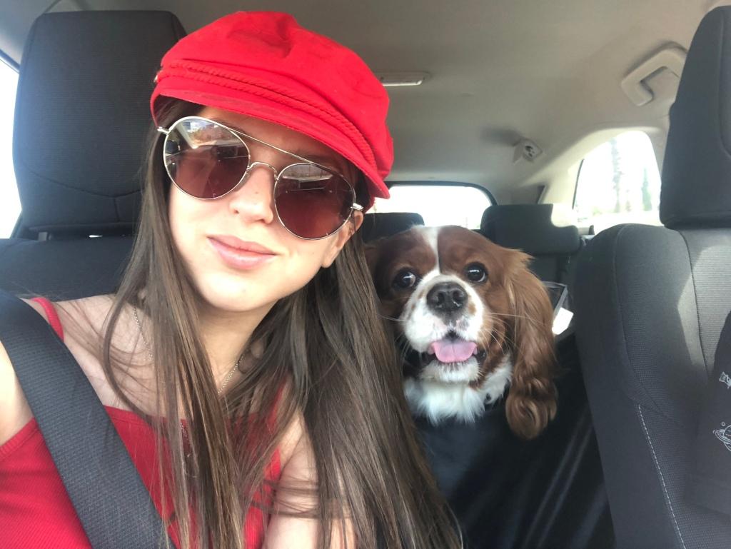 Wearing red driving around Benidorm lockdown