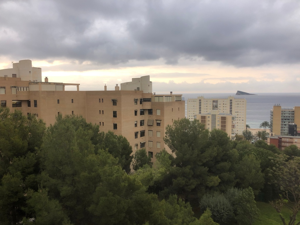 Grey sky Benidorm lockdown