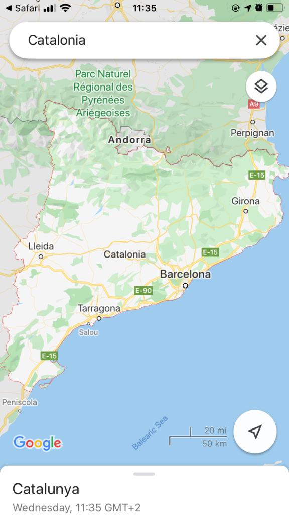 Map of Catalonia masks now compulsory