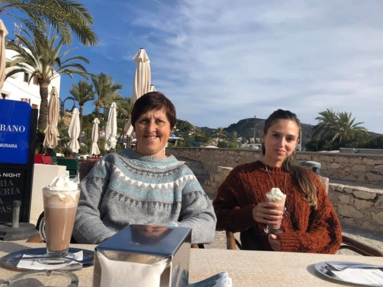 Drinking hot chocolate in Moraira mum and daughter