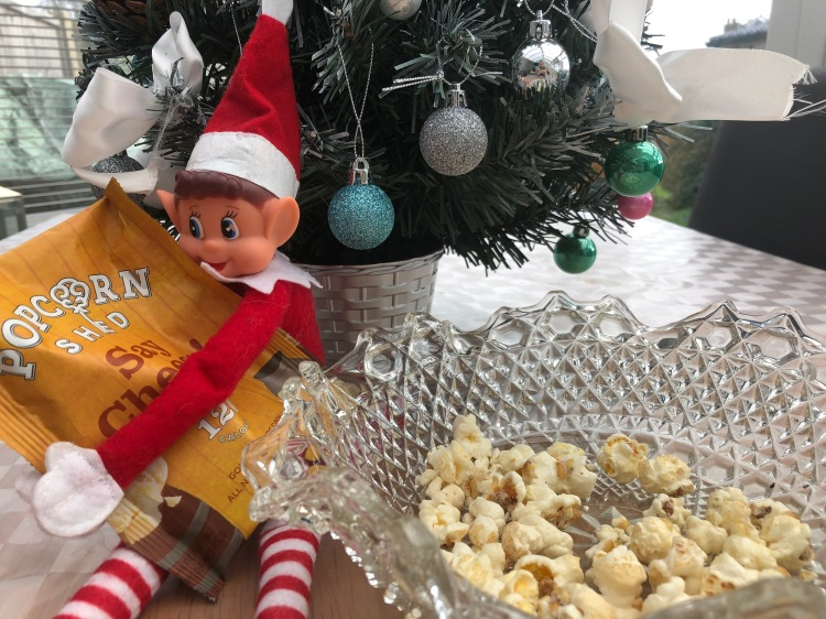 elf on the shelf christmas popcorn movie night