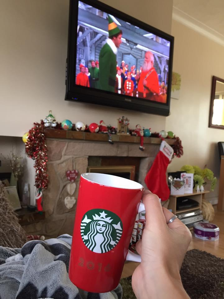 red starbucks mug christmas eve tradition elf film