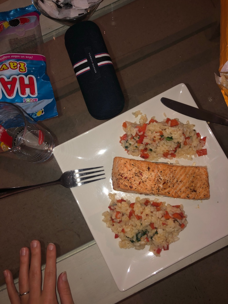 Salmon for dinner with rice chilli and peppers and spinach