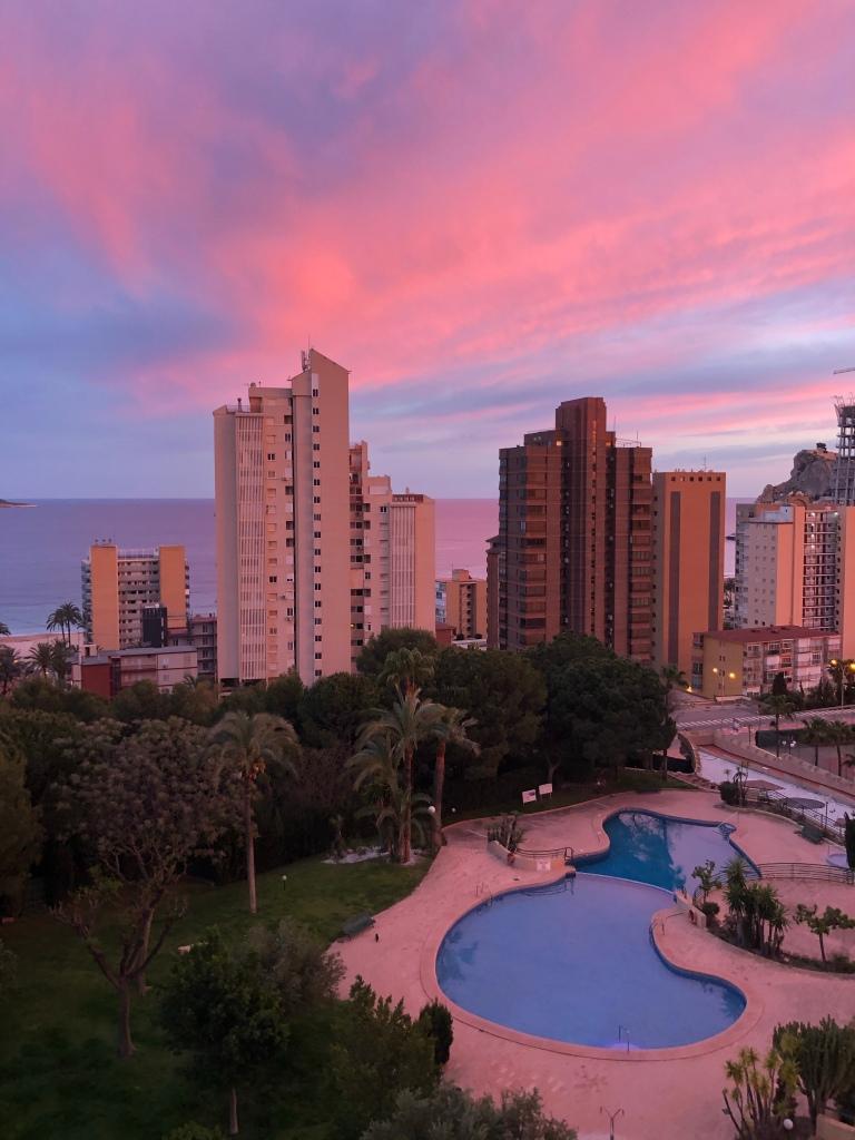 Benidorm pink sky sunset lockdown