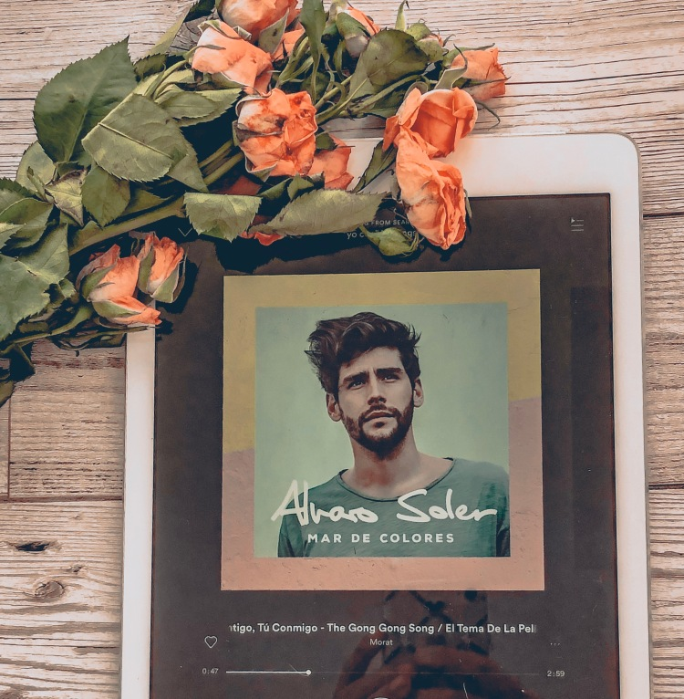 teach yourself a second language flatlay spanish music flowers