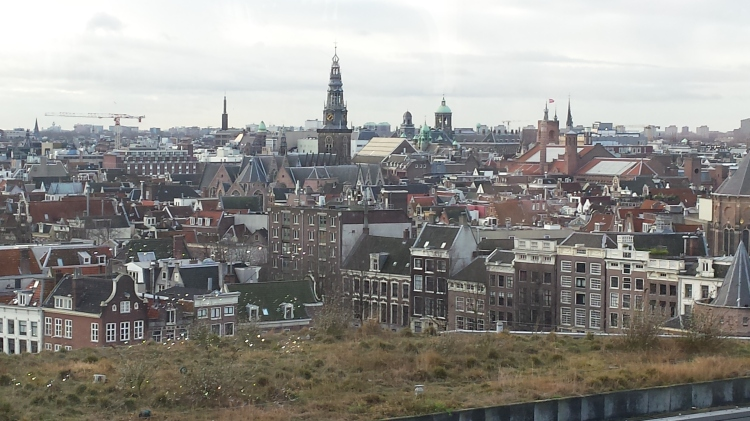 view of amsterdam from hilton hotel winter