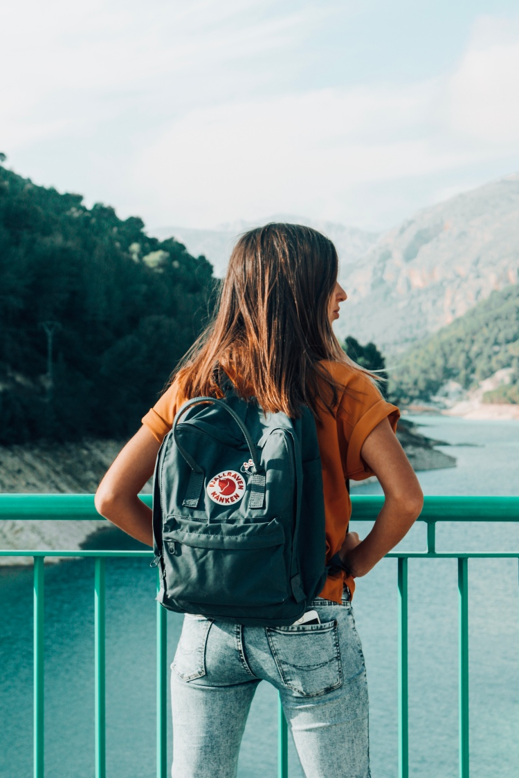 Mountains kanken backpack adventure girl lake