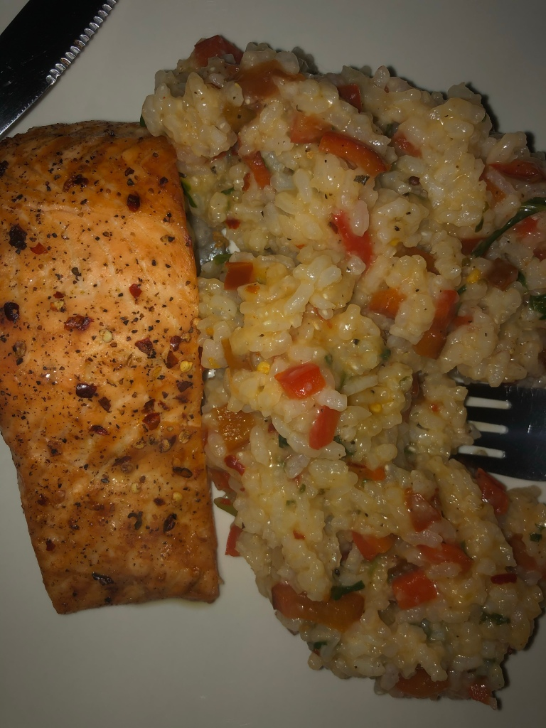 Salmon and rice for dinner Lockdown spain