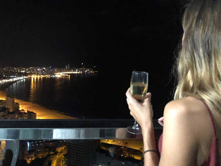 cava drinking on balcony for NYE