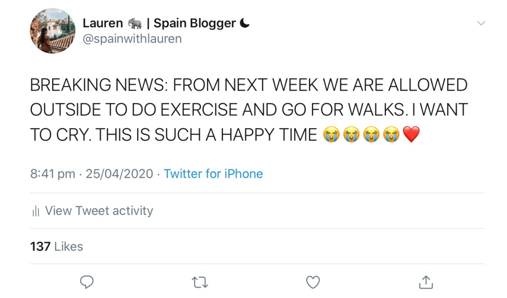 Tweet announcing that lockdown in Spain being loosened