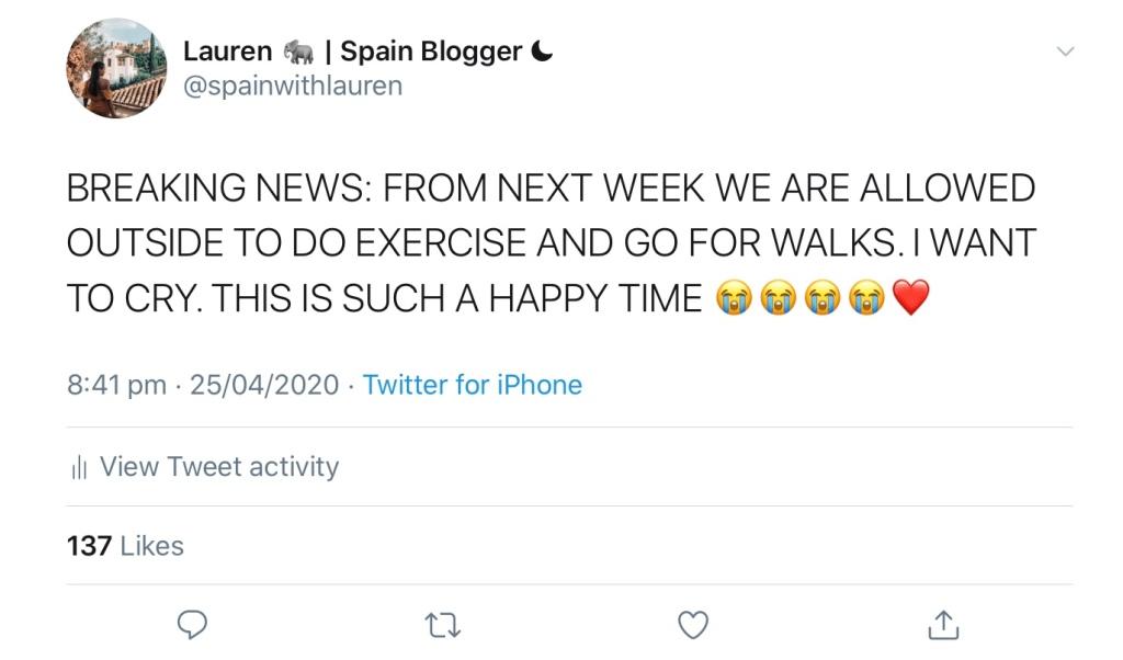 Tweet announcing that lockdown in Spain being loosened