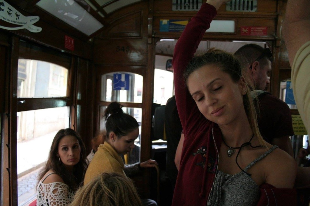 Crammed on tram 28 Lisbon