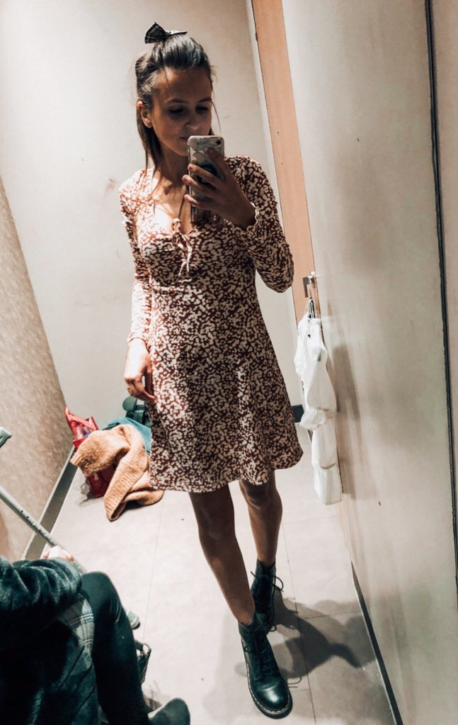 Topshop brown dress from Fosse Park mirror selfie