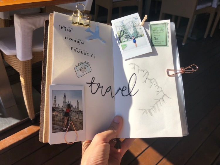 travel bullet journal page with mountains and polaroids nomad factory review the bullet journal