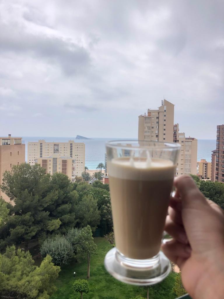 Morning coffee in Benidorm lockdown