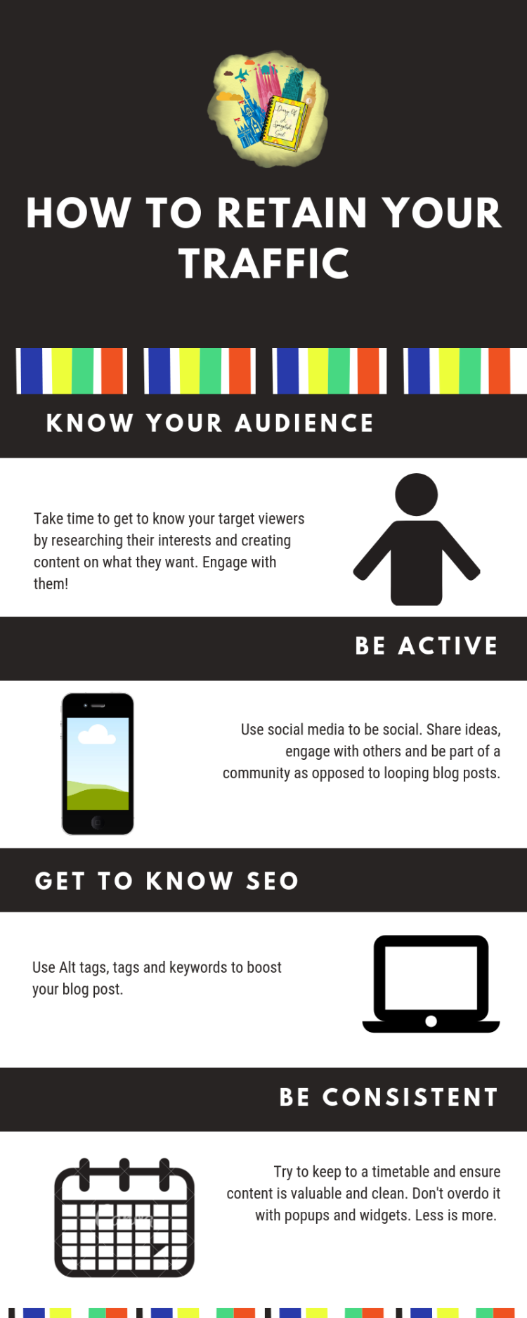 how to retain traffic to your blog infographic