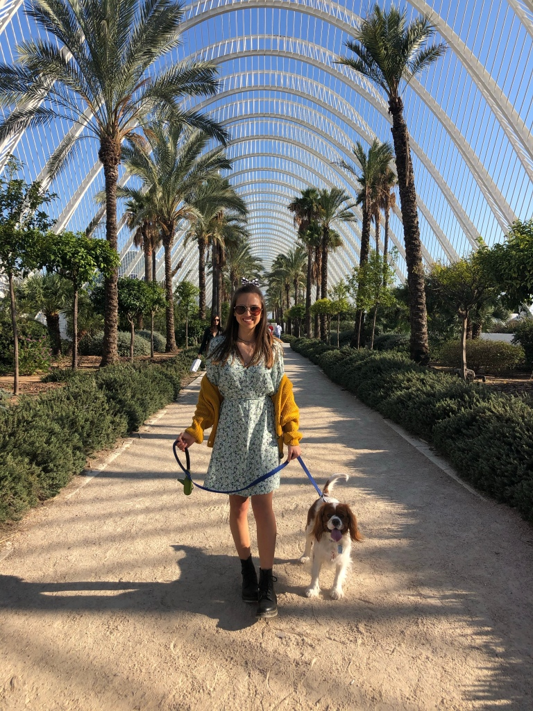 Walking with my dog through the park at Valencia