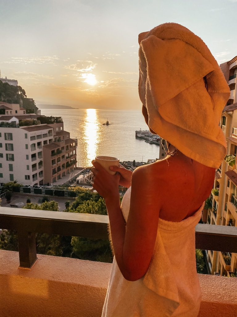 watching sunrise from hotel columbus monte carlo monaco
