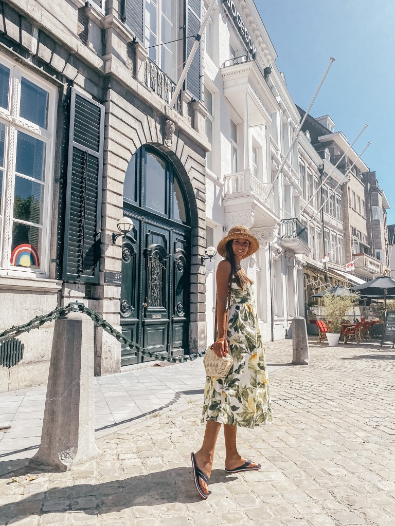 girl wearing long dress in maastricht netherlands blog post road trip