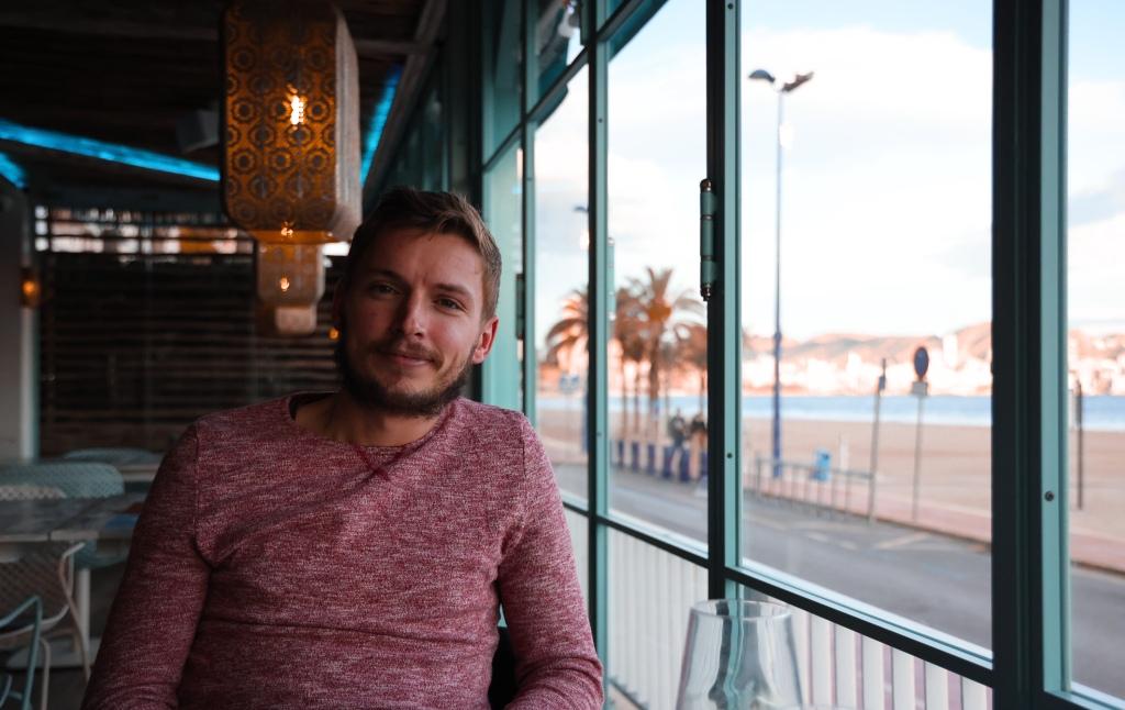 Alex sat in Aruba gAstro bar Benidorm