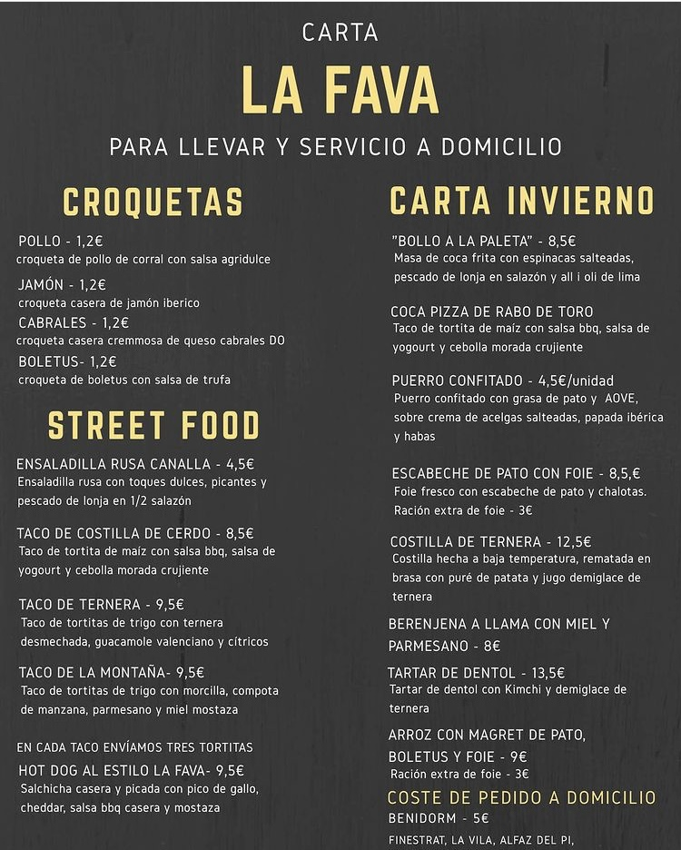 la fava Benidorm takeaway services menu