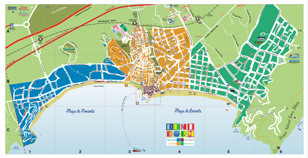 Benidorm land map provided by Benidorm tourist office